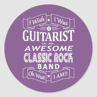GUITARIST awesome classic rock band (wht) Classic Round Sticker