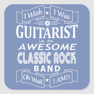 GUITARIST awesome classic rock band (wht) Square Sticker