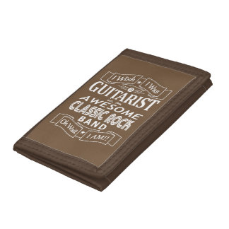 GUITARIST awesome classic rock band (wht) Tri-fold Wallet