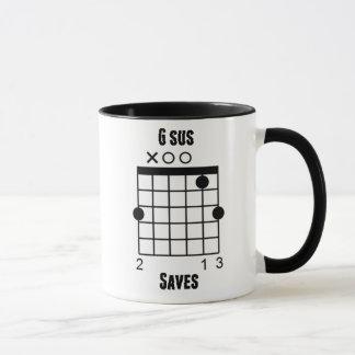 Guitarist Guitar Chord Funny G-Sus Saves Mug