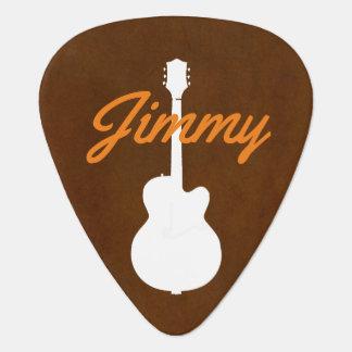 guitarist handwritten font-style name brown plectrum