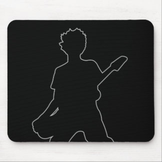 Guitarist Silhouette - B&W Mouse Pad