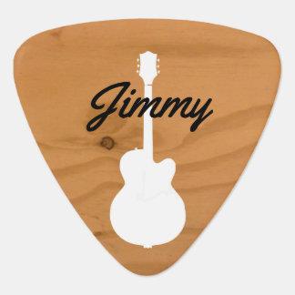 guitarist wood handwritten font-style name guitar pick
