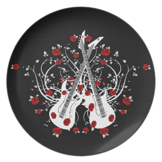 Guitars And Roses  Melamine Plate #4