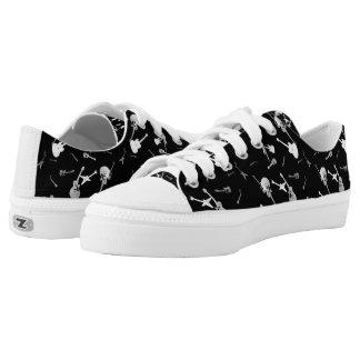 Guitars Rock Black White Low Top Shoes 3