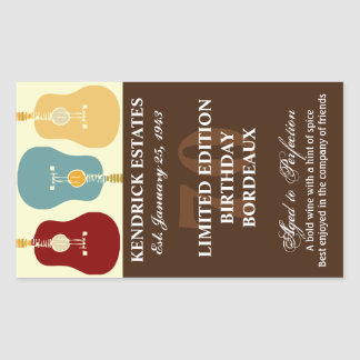 Guitars Wine Label - Brown (750ml) Rectangular Sticker