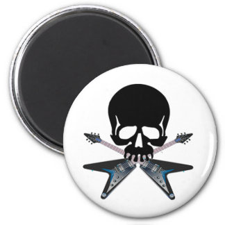 Guitars with skull 6 cm round magnet
