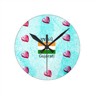 Gujarati (India) Language And Flag Design Round Clock