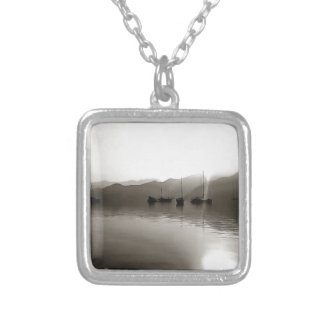 Gulets In Greyscale Silver Plated Necklace