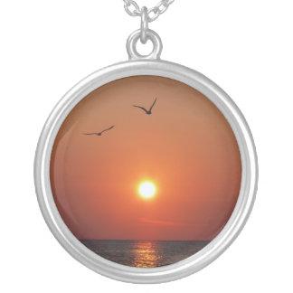 Gulf Coast sunset with gulls Round Pendant Necklace