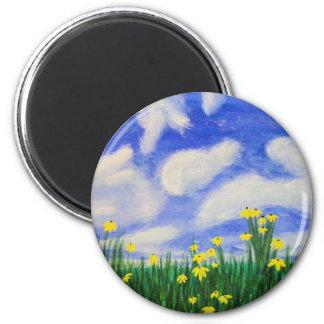 Gulf Cove Flowers in a Bright Field 6 Cm Round Magnet
