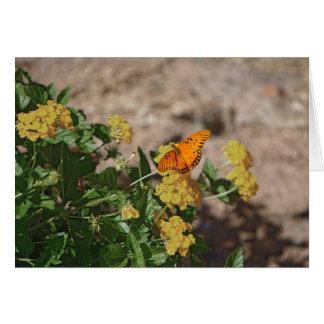 Gulf fritillary on lantana flowers card