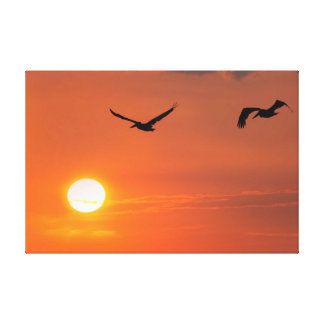 Gulf of Mexico Pelican Sunset Canvas Print