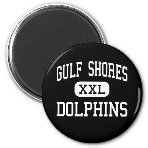 Gulf Shores - Dolphins - High - Gulf Shores Fridge Magnet