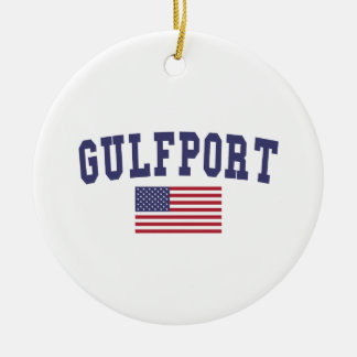 Gulfport US Flag Ceramic Ornament