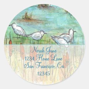 Gull Bird Nature Drawing Return Address Classic Round Sticker