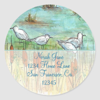 Gull Bird Nature Drawing Return Address Classic Round Sticker