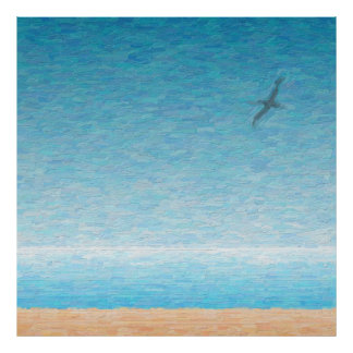 Gull flying on the beach poster