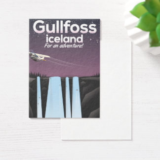 Gullfoss Waterfall Iceland travel poster Business Card