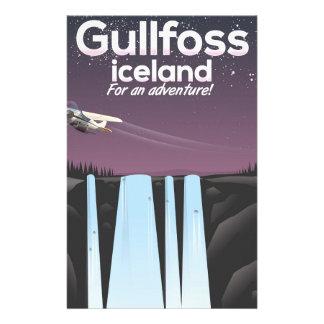 Gullfoss Waterfall Iceland travel poster Stationery