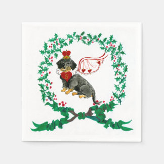 Gulliver's Wirehaired Dachshund Christmas Napkin Paper Napkin