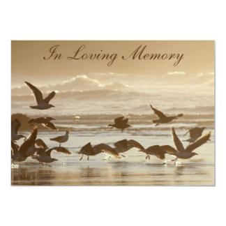 "Gulls Taking Flight Memorial Service Announcement 5"" X 7"" Invitation Card"