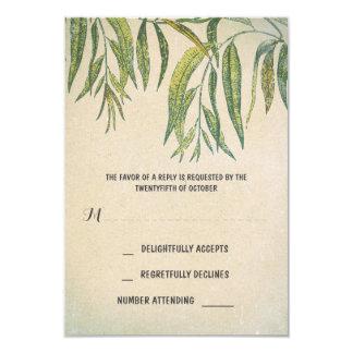 gum leaves rustic outdoor wedding RSVP cards