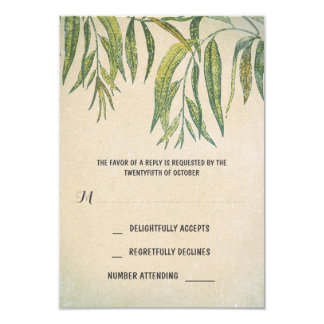 gum leaves rustic outdoor wedding RSVP cards 9 Cm X 13 Cm Invitation Card