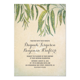 Gum tree leaves elegant vintage wedding invites