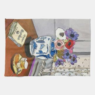 Gumbo Book, Flowers, Vase, after Matisse Tea Towel