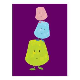 Gumdrop characters balancing on each other postcard