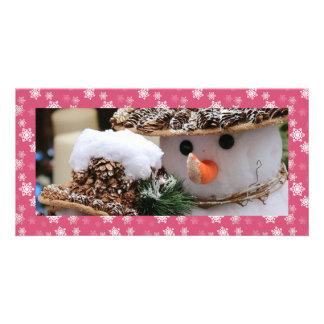 Gumdrop Pink and White Snow Flurries Custom Custom Photo Card