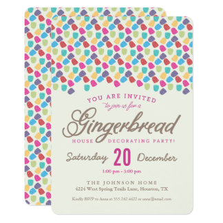 Gumdrops & Gingerbread House Decorating Party Card