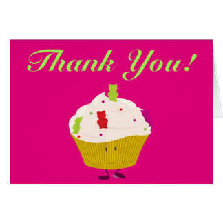 Gummy Bear Cupcake thank you Card