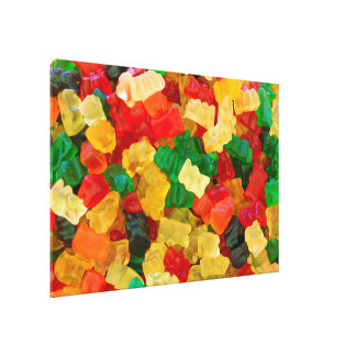Gummy Bear Rainbow Colored Candy Stretched Canvas Print