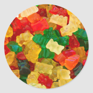 Gummy Bear Rainbow Colored Candy Classic Round Sticker