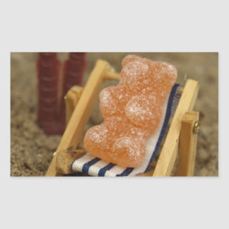 Gummy Bear Relaxing on Beach Rectangular Sticker