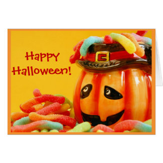 Gummy worm halloween greeting card