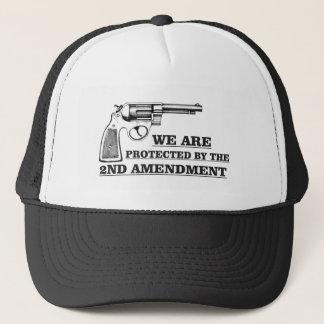 gun and the 2nd trucker hat