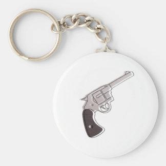 gun basic round button key ring