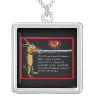 Gun Control - Charles B. Rangel Quote Silver Plated Necklace