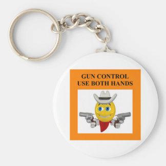 gun control joke basic round button key ring
