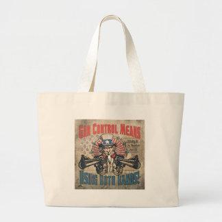 Gun Control Means Two Hands Retro Jumbo Tote Bag