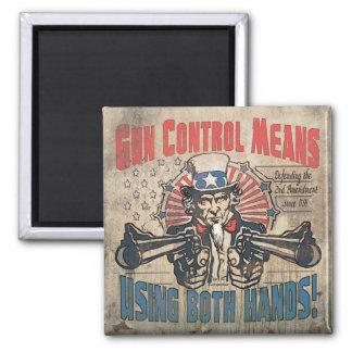 Gun Control Means Two Hands Retro Fridge Magnets