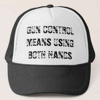 GUN CONTROL MEANS USING BOTH HANDS TRUCKER HAT