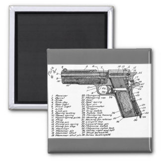 Gun Diagram Square Magnet