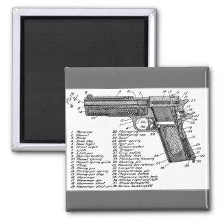 Gun Diagram Square Magnet