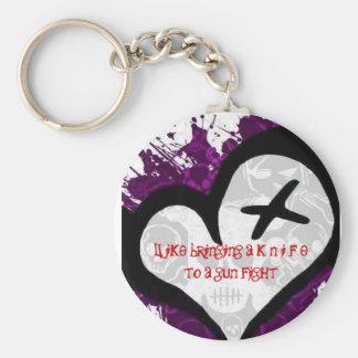 gun fight basic round button key ring