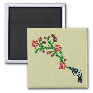 Gun & Flowers Blossom Square Magnet