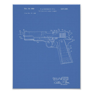 Gun Head Space 1968 Patent Art Blueprint Poster